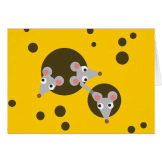 Three Playful Mice in Cheese Greeting Card