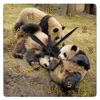 Three Playing Panda Cubs Wall Clock