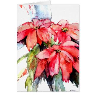 Three Poinsettias in Watercolor Card