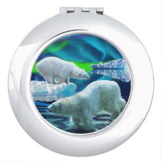 Three Polar Bears Hunting and Aurora Wildlife Art Makeup Mirrors
