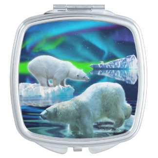 Three Polar Bears Hunting and Aurora Wildlife Art Compact Mirrors