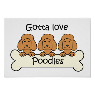 Three Poodles Poster