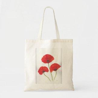 Three poppy flowers tote bag