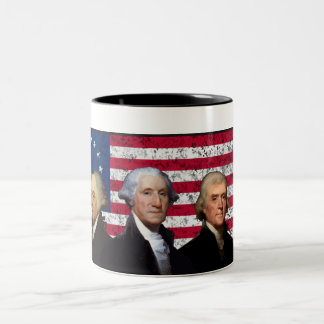 Three Presidents and The American Flag Coffee Mugs