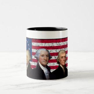 Three Presidents and The American Flag Two-Tone Mug