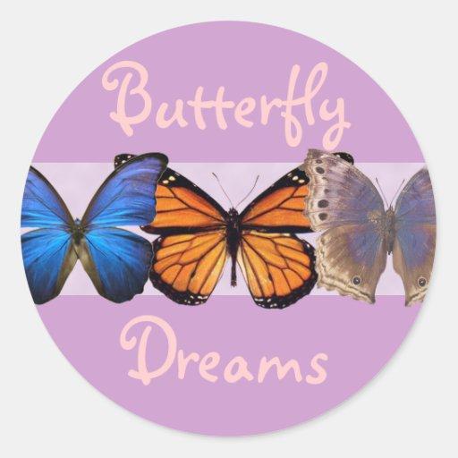 Three Pretty Butterflies Round Sticker