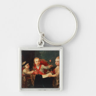 Three Princes, Children of Charles III Silver-Colored Square Key Ring