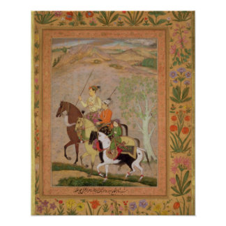 Three Princes Going Hunting, c.1635 (gouache on pa Poster