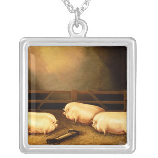 Three Prize Pigs outside a Sty Silver Plated Necklace