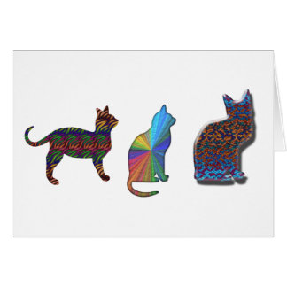 Three Psychedelic Cats Greeting Card