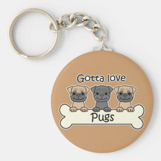 Three Pugs Basic Round Button Key Ring