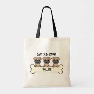 Three Pugs Budget Tote Bag