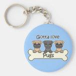 Three Pugs Key Chains
