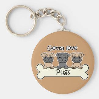 Three Pugs Key Ring