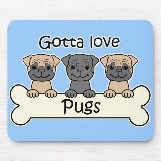 Three Pugs Mouse Mat