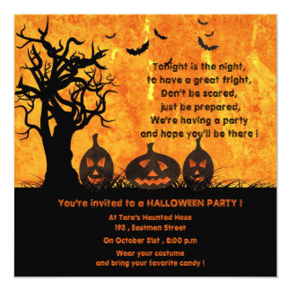 Three Pumpkins - halloween party invitations