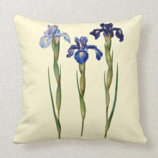 "Three Purple Iris Throw Pillow 20"" x 20"""