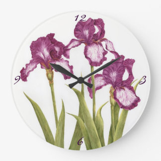 Three Purple Irises - Clock
