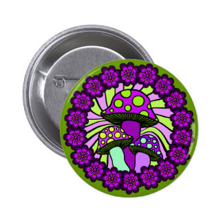 Three Purple Mushrooms Button