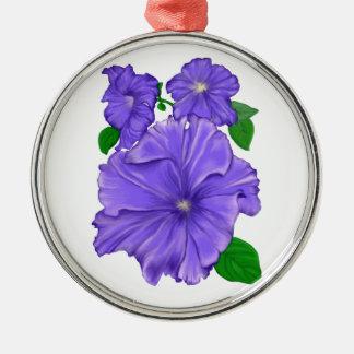 Three Purple Petunias Silver-Colored Round Decoration