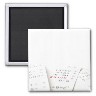 Three receipts on white background. There are Square Magnet