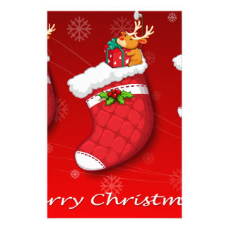 Three red christmas stockings personalized stationery