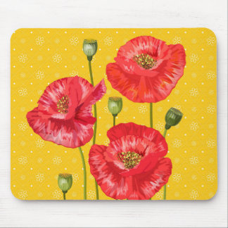 Three Red Poppies and Yellow Floral Botanical Mouse Mat