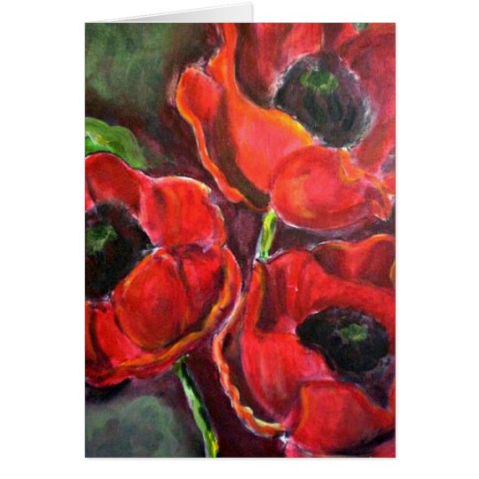 Three Red Poppies Card