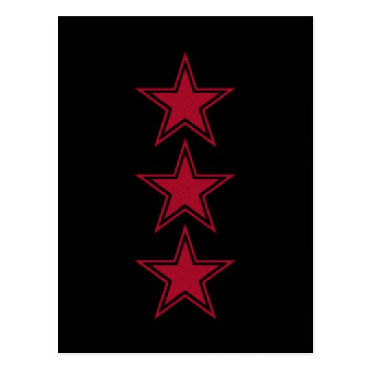 Three Red Stars Postcard