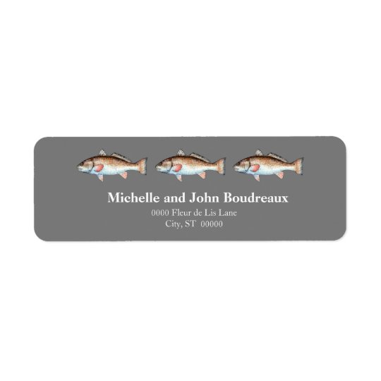 Three Redfish on Grey Return Address Label