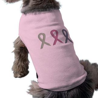 Three Ribbons Breast Cancer Awareness Dog Shirt