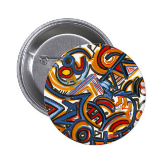 Three Ring Circus-Modern Art Colorful Handpainted 6 Cm Round Badge