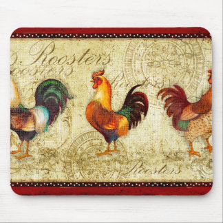 Three Roosters Mouse Mat
