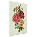 Three roses on Vintage pastel green pattern canvas