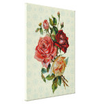 Three roses on Vintage pastel green pattern canvas Gallery Wrap Canvas