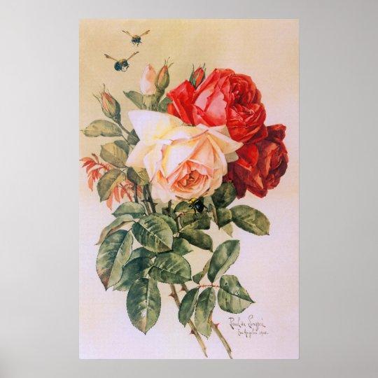 Three Roses Vintage Poster