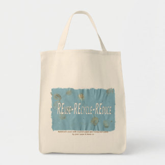 Three Rs on Handmade paper Tote Bag