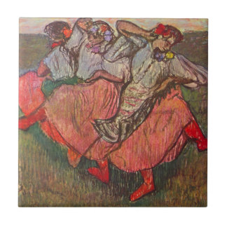 Three Russian Dancers by Edgar Degas Small Square Tile