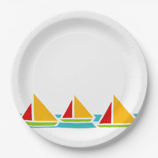 Three Sail Boats in Bright Colors 9 Inch Paper Plate