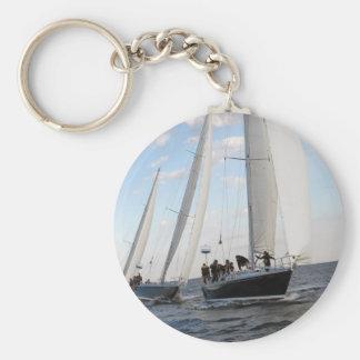 Three Sailboats on the Sea. Key Ring