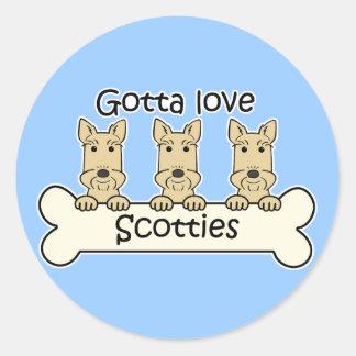 Three Scottish Terriers Classic Round Sticker