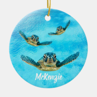 Three Sea Turtles Swimming Christmas Ornament