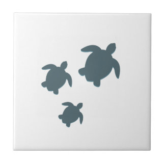 Three Sea Turtles Swimming Together Small Square Tile