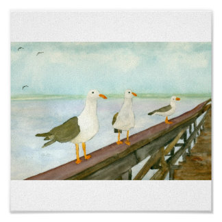 Three Seagulls on Railing Poster