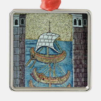 Three ships entering the port of Ravenna Christmas Ornament
