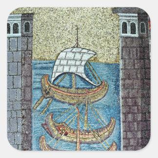Three ships entering the port of Ravenna Square Sticker