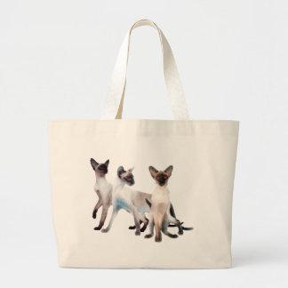 Three Siamese Cats Jumbo Tote Bag