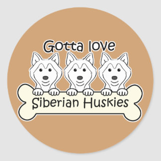 Three Siberian Huskies Classic Round Sticker