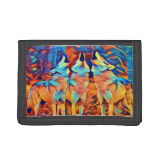 Three Singing Wolves Tri-fold Wallets