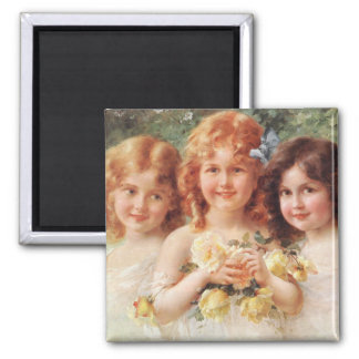 Three Sisters by Émile Vernon Square Magnet